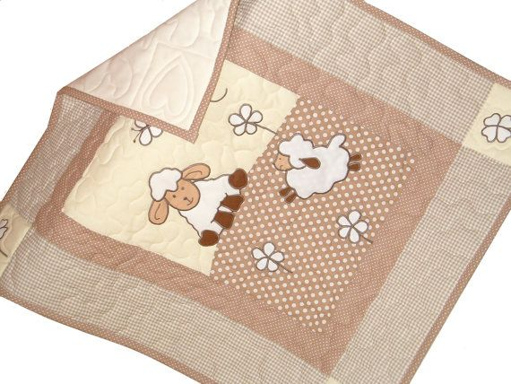 Sheep Baby Quilt Appliqued Baby Quilt Baby by Customquiltsbyeva, $80.00