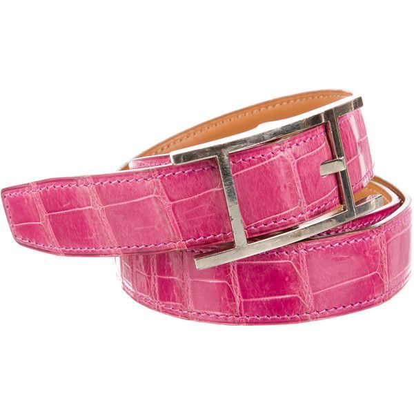 Pre-owned Herm?s Quentin Crocodile Belt (€1.185) ❤ liked on Polyvore featuring accessories, belts, pink, crocodile belt, croc belt, hermes belt, pink belt and hermès