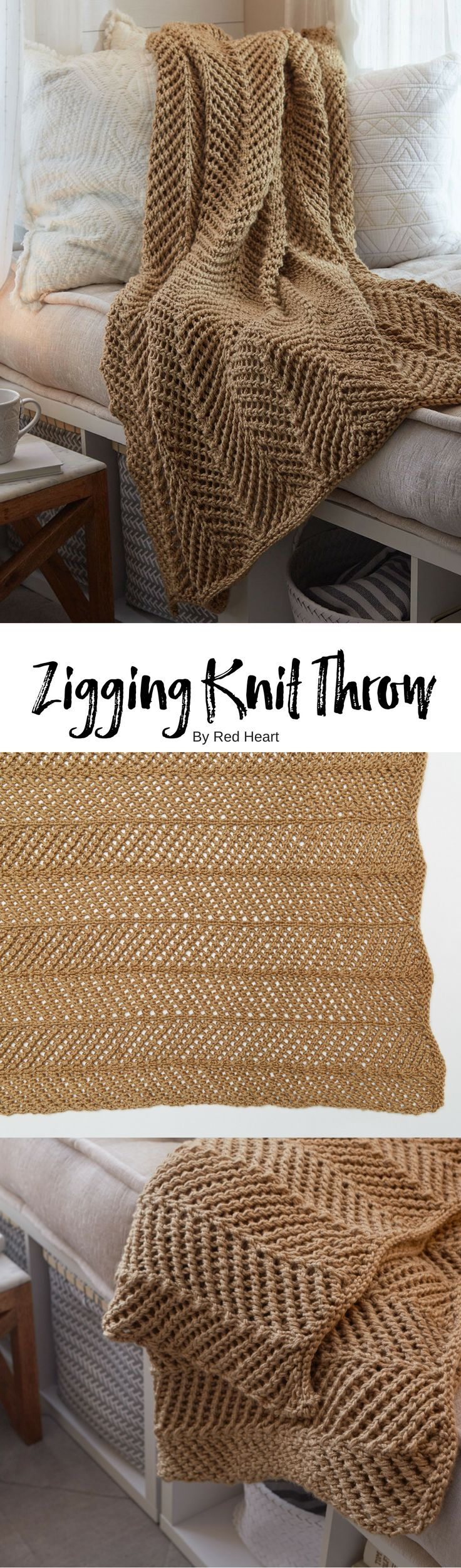 Zigging Knit Throw free knit pattern in Soft yarn.