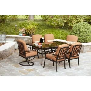 Hampton Bay Cedarvale 7 Piece Patio Dining Set With Nutmeg Cushions 133 008