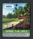 2012 MASTERS BADGE - AUGUSTA NATIONAL PGA GOLF TOURNAMENT TICKET - BUBBA WATSON»
