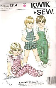 1254-Kwik-Sew-Girls-Boys-SEWING-PATTERN-Overalls-SIZE-1-4-CHEST-20-23-UNCUT