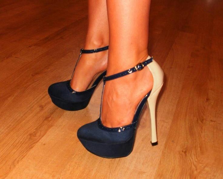Two toned T-strap stilettos