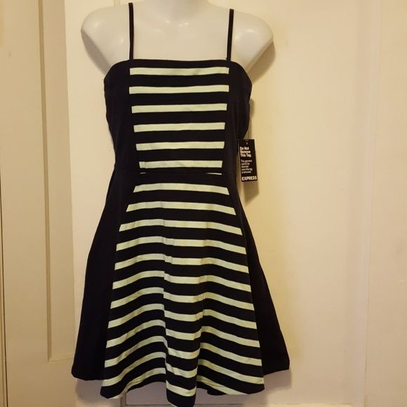 Express sundress Navy and mint green striped adorable sundress! Adjustable and removable straps. Converts into strapless! Never been worn! 95 percent cotton 5 percent spandex. Can be worn on a casual summer day or a night out! Dresses Midi