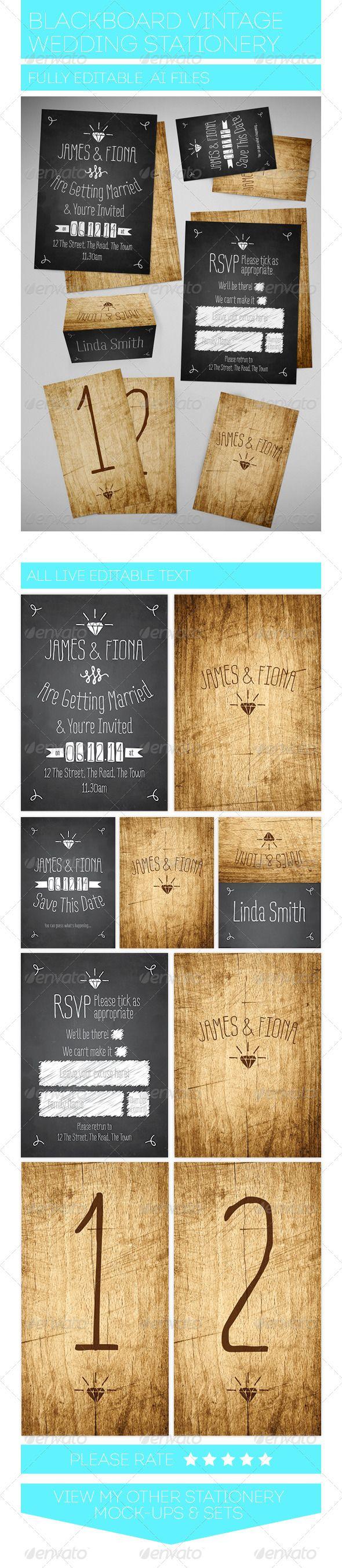 Blackboard Vintage Wedding Stationery Set