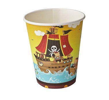 """Kubeczki papierowe """"Skarb Piratów"""". Ahoj kapitanie! Wyruszamy w niesamowitą przygodę, która odbędzie się na przyjęciu Twojego dziecka :)"""
