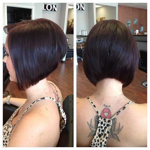 Chic Short Stacked Diagonal Forward Haircut
