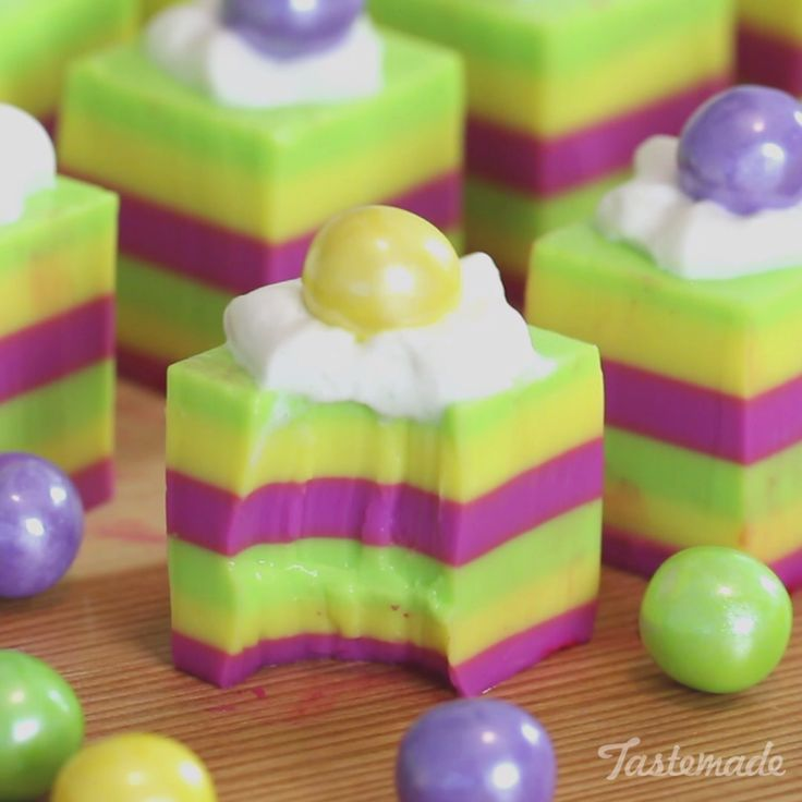 Get in the Mardi Gras spirit with these ultra fun jello shots, perfect finger food for any party!