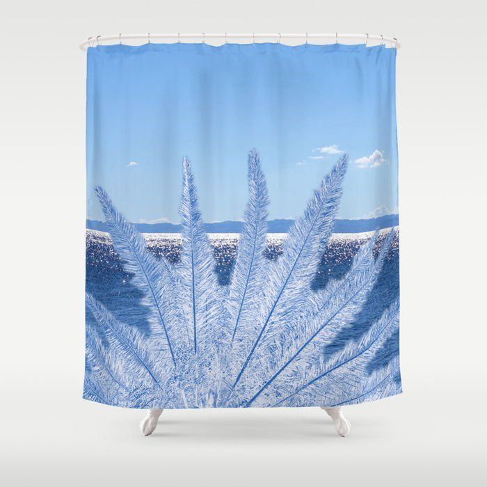 Blue Palm In The Sea Shower Curtain By Marionb