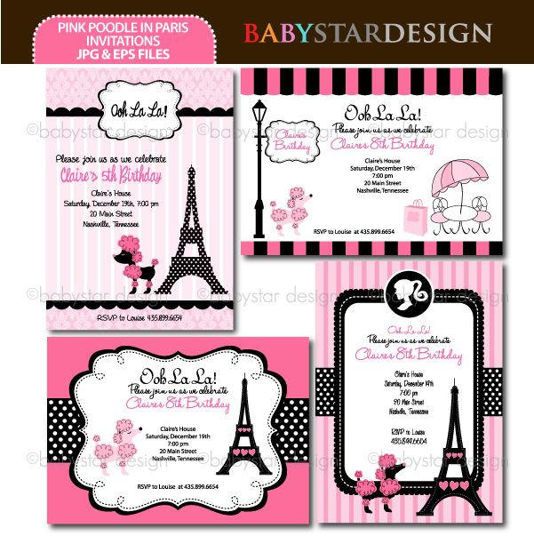 Pink Poodle in Paris - Invitation Templates - Invitation Templates - Mygrafico.com