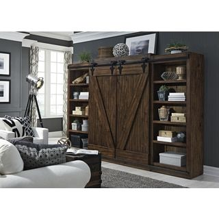 Lancaster II Antique Brown Modern Farmhouse Entertainment Center with Piers | Overstock.com Shopping - The Best Deals on Entertainment Centers