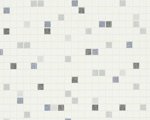 Moderní vinylová tapeta modrá, metalická imitace mozaiky 96239-4 / Tapety na zeď 962394 Faro 4 AS (0,53 x 10,05 m) A.S.Création