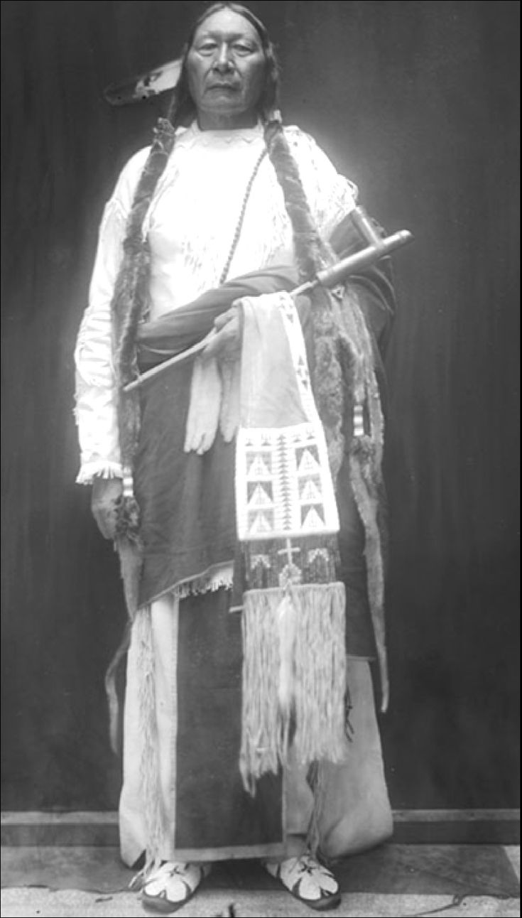 Grey Beard - Grey Beard's son Prairie Chief became a chief like his father. He helped guide the Southern Cheyenne through the transition to reservation life. This picture shows his dress in 1911. National Anthropological Archives Grey Beard, aka Wolf Grey, luckily escaped uninjured from the Sand Creek Massacre. His advocacy of peace disappeared, particularly since he listed losses in horses and property during the attack at $125.00, according to information compiled in 1865.