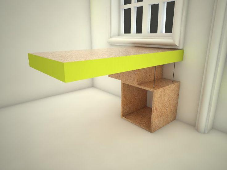 Diseño de escritorio con materiales reutilizados.