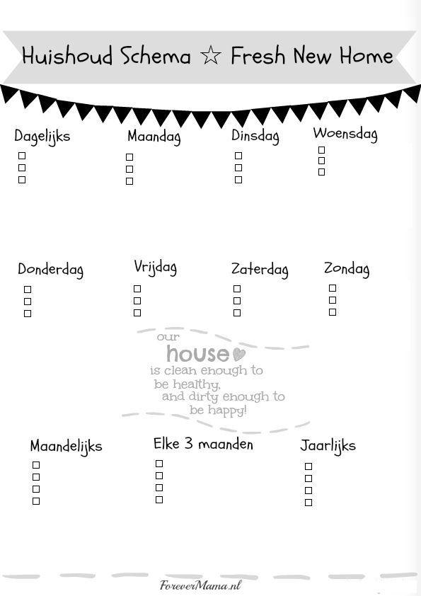 gratis printable poster huishoudschema