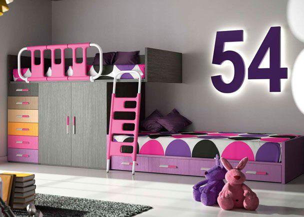 Habitación Infantil: HABITACION INFANTIL 610-25 | Habitación infantil compuesta por una litera tipo tren con armario de 2 puertas de 100 cms y