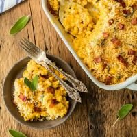 Pumpkin Bacon Mac & Cheese on MyRecipeMagic.com Pumpkin Bacon Mac & Cheese is Autumn in a casserole dish! These flavors though...out of this world!