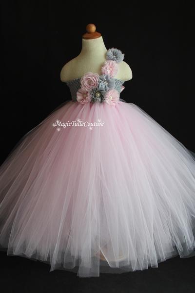 5880846bf3d Lt. Pink and mixed grey silver vintage flower girl tutu dress wedding dress  tulle dress birthday dress tea party dress
