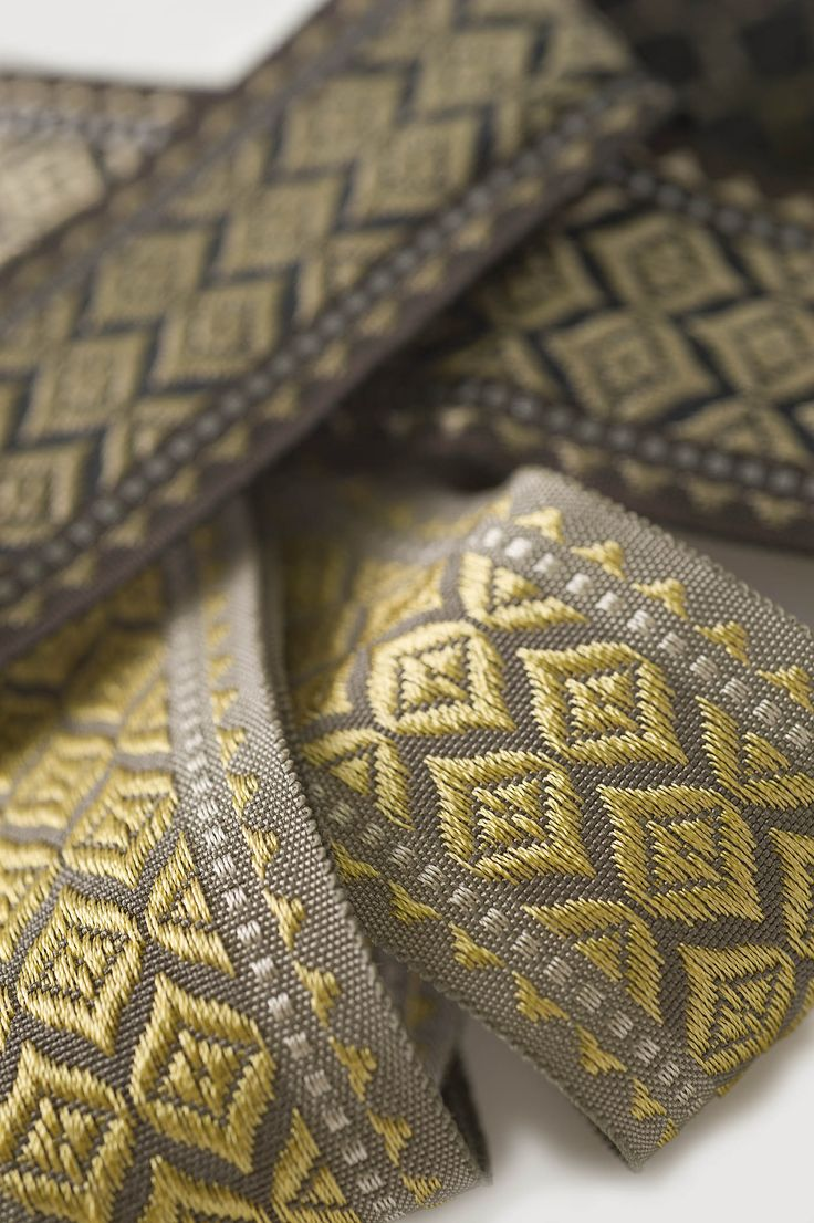 "Borders, Braids & Tapes: Reversible in a great design, Tatiana is a 1 ¾"" tape with a wonderful sheen. #fabricut #trimmings"