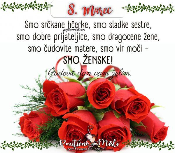8. marec - DAN ŽENA | Happy birthday flower, Happy birthday messages,  Birthday messages