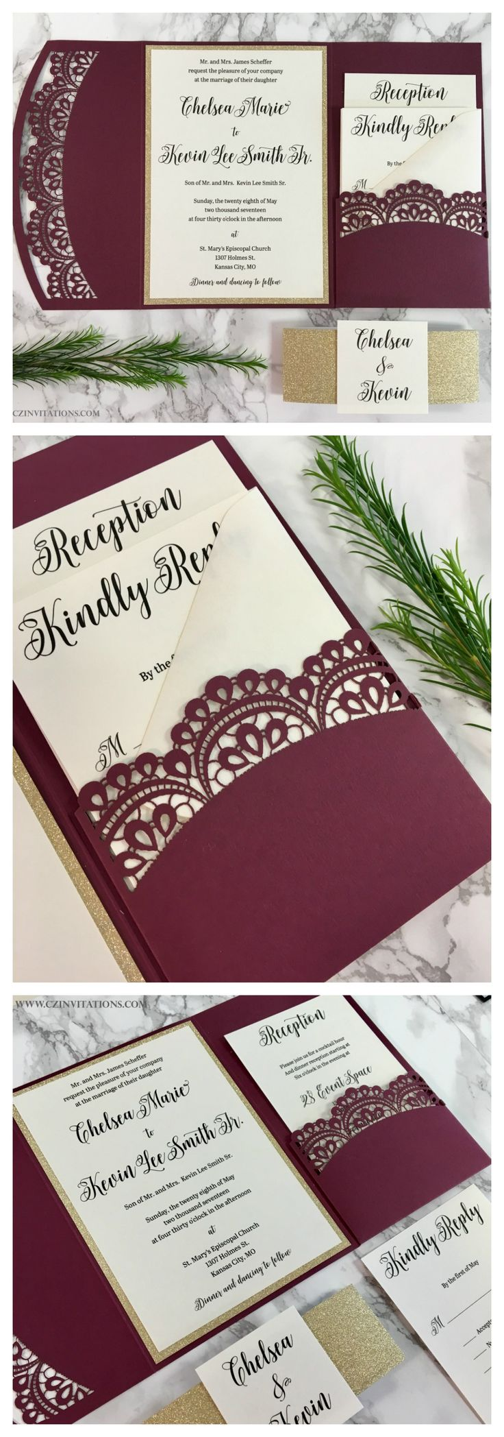 This burgundy doily laser cut pocket is perfect for fall weddings!