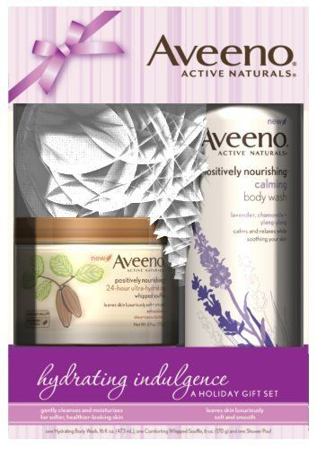 Aveeno Hydrating Indulgence Gift Pack by Aveeno. $10.00. Active naturals positively nourishing and calming body wash. Aveeno positively nourishing 24hour ultrahydrating whipped souffle body crème. Leaves skin luxuriously soft and smooth. Aveeno active naturals hydrating indulgence a holiday gift set. Aveeno positively nourishing 24 hour ultrahydrating whipped souffle body crème. Active naturals positively nourishing and calming body wash. Leaves skin luxuriously soft a...