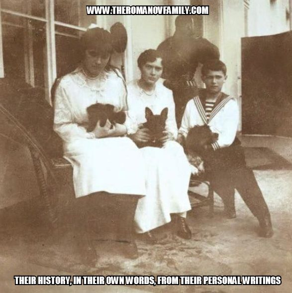 Grand Duchess Anastasia with her dog Jimmy, Grand Duchess Tatiana with her French bulldog Ortipo, and Tsesarevich Alexei with this spaniel Joy. Only Joy survived the revolution.