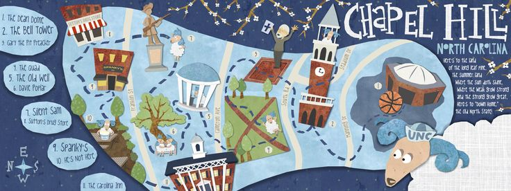 Chapel Hill, NC: The Southern Part of Heaven by Alice Feagan, #Chapel_Hill, #map