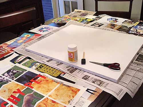 How to decoupage a canvas