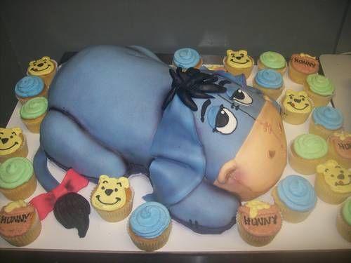 Eeyore Cake with Pooh cupcakes: Cupcakes Eeyore, Stuff, Food, Cakes Cupcakes, Cake Cupcake Ideas, Eeyore Cake, Pooh Cupcakes, Birthday Cake