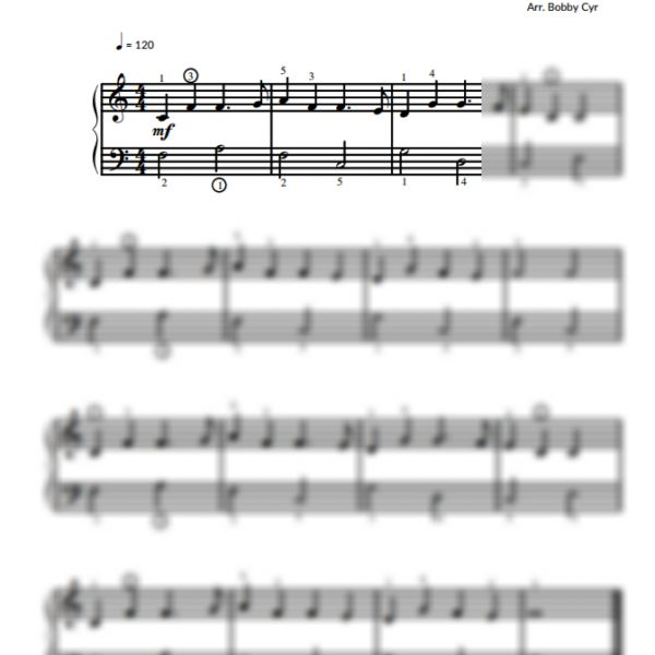 The Muffin Man - Nursery Rhymes - Easy Piano Sheet Music for Beginners / Piano Notion