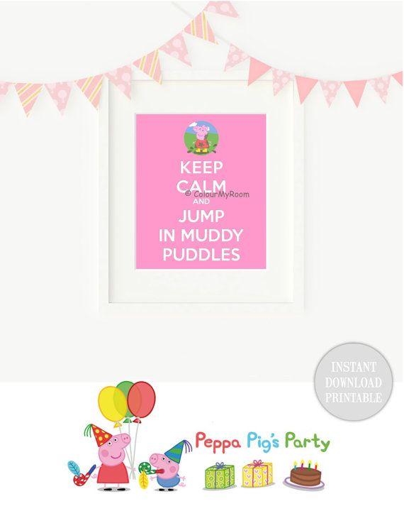KEEP CALM PEPPA Pig Jumping Muddy Puddles by ColourMyRoom on Etsy