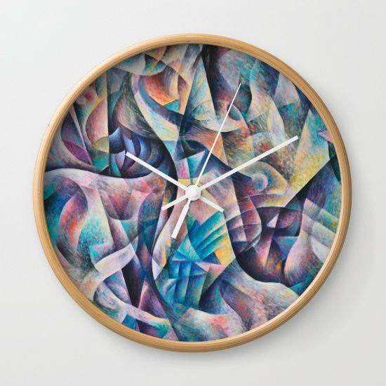 "Wall Clock. Design based on an oil painting by Monique Rebelle. Available in natural wood, black or white frames, our 10"" diameter unique Wall Clocks feature a high-impact plexiglass crystal face and a backside hook for easy hanging. Choose black or white hands to match your wall clock frame and art design choice. Clock sits 1.75"" deep and requires 1 AA battery (not included). #clockwall #clocks #clockdecor #homedecoridea #stylehomedecor #abstractpainting #abstractart #luck #dream"
