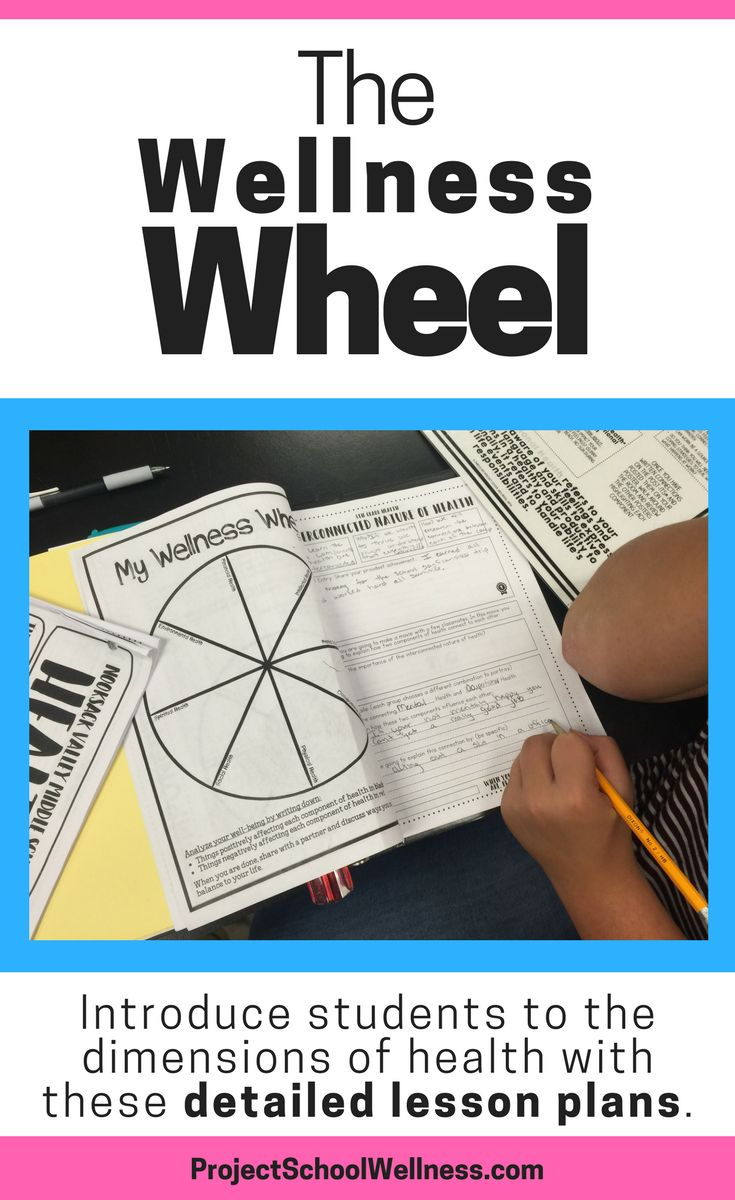 Wellness Wheel teaching activity and lesson plans. This Project School Wellness resource introduces students to the dimensions of health and the interconnected nature of health. Lesson plans come with teaching guide and PowerPoint, answer key, and grading rubric.