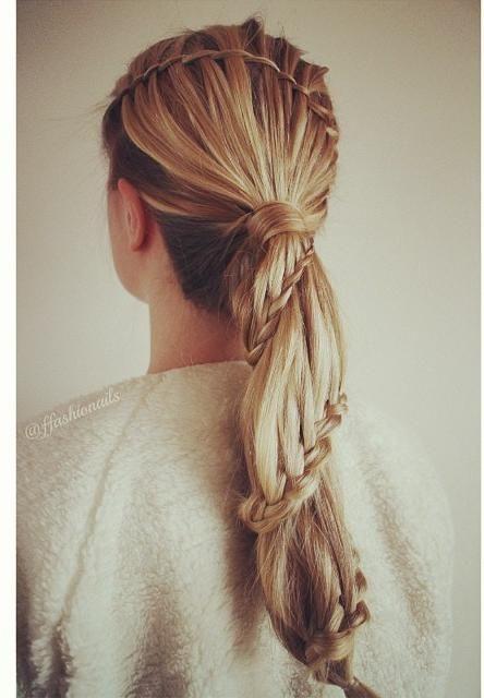 Twisted Waterfall braid into a carousel braid