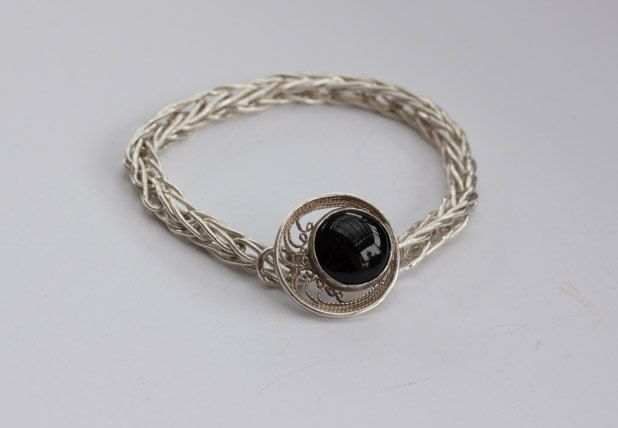 """Sterling and Fine Silver Filigree Bracelet with 15 mm Black Onyx Gemstone Clasp.  7 and 3/4"""" long by CJsJewelryCreations on Etsy"""