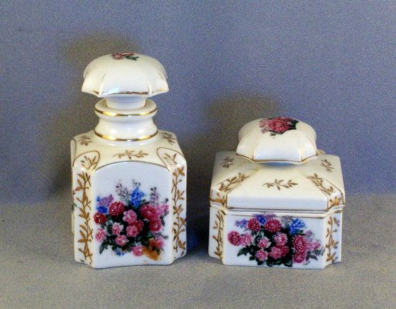 Dressoir ijdelheid parfum Creme Container Jar / / Matching paar / / Vanity Decor / / decoratieve bloemen / / gouden Decor / / porselein / / Trinket Box