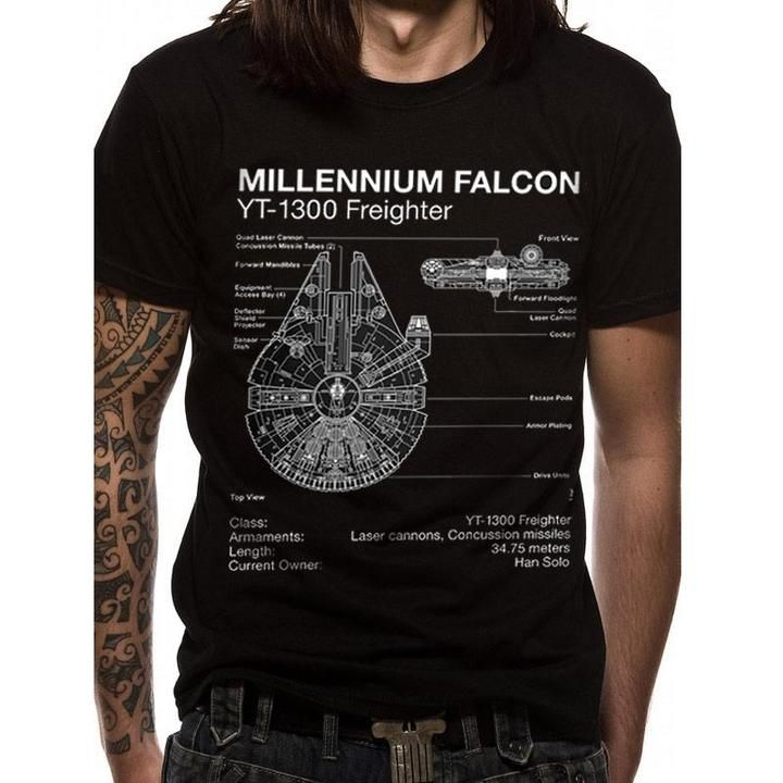 Star Wars Millennium Falcon Blueprint Official Last Jedi Black Mens T-shirt