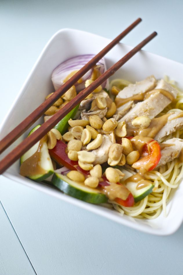 This Peanut Chicken Stirfry has over 3 servings of veggies and 40g of protein in each portion! It also comes together in a snap!