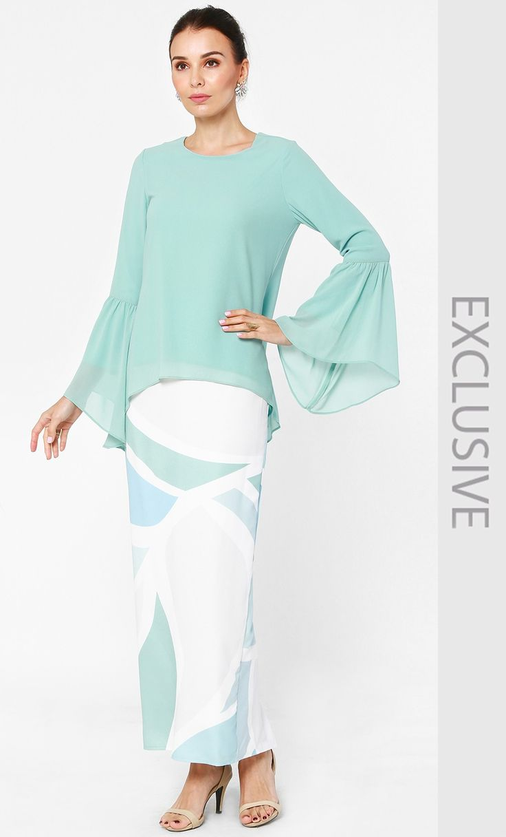 Bell Sleeved Chiffon Blouse and Skirt Set in Mint Blue and Blue Print | FashionValet