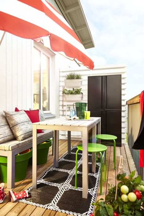 Design a trendy balcony with the help of lightweight FALSTER tables, ROXÖ stools and JOSEF cabinets