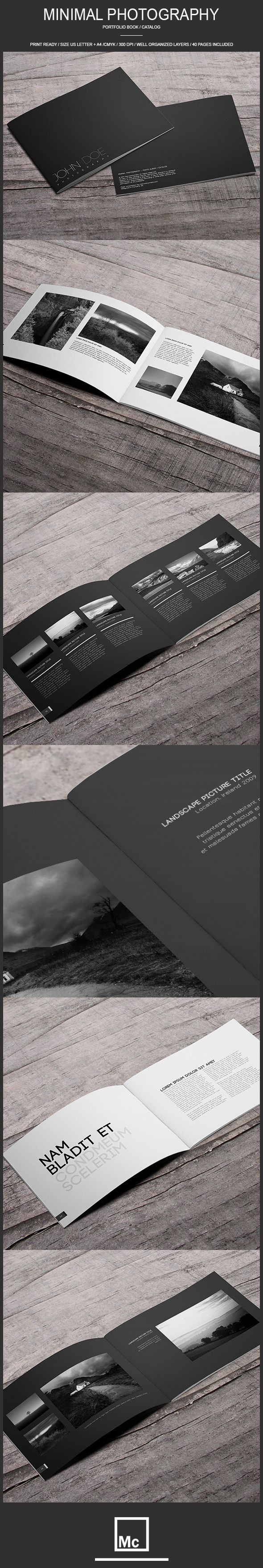 Pages with white on black, really nice way to break up the chapters without using stock photography, could still have textures and illustrations on them in white, perhaps the company print. -  40 Page Minimal - Photography Portfolio Book by Macrochromatic, via Behance