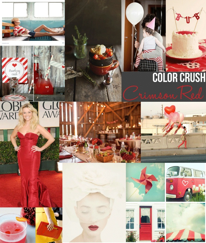 color crush :: crimson red featuring our valentine's day printablesHolidays Valentine, Crimson Red, Colors Crushes, Inspiration Boards, Red Heycaryl, Valentine'S Ideas, Red Features, Collage Layout, Colors Inspiration