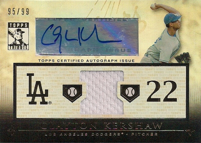 Clayton Kershaw Topps Tribute Auto Jersey /99