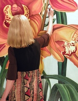 Anne Gudrun at work on a painting