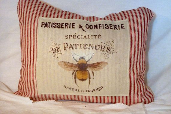Bee Pillow Cover  French Ticking Pillow by JulieButlerCreations