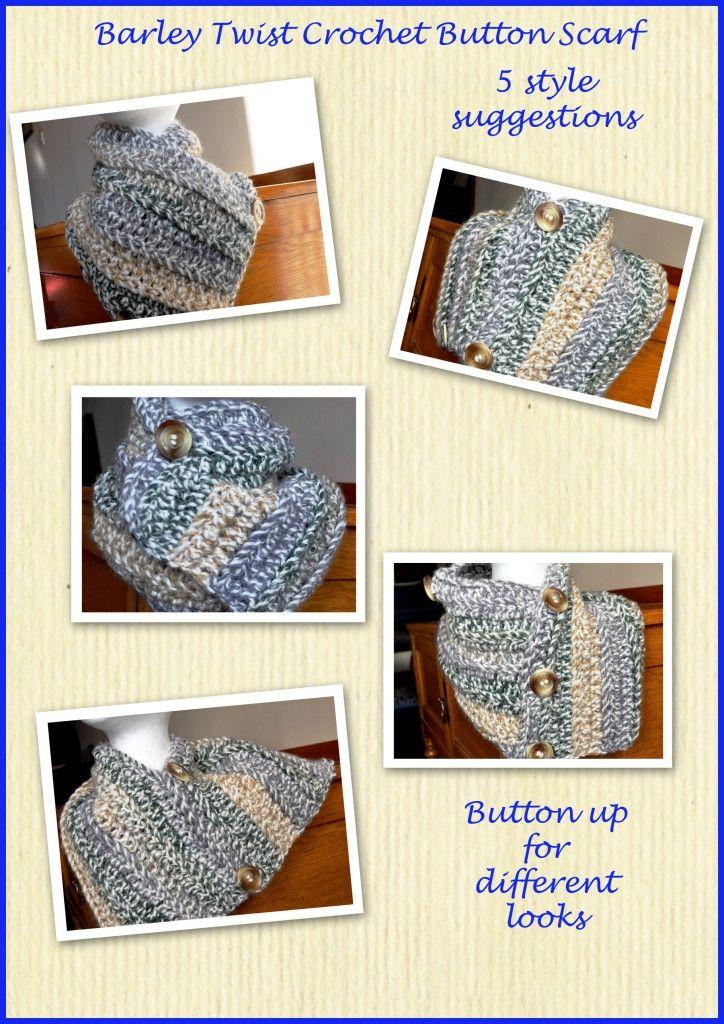 crochet button scarf - free #crochet pattern