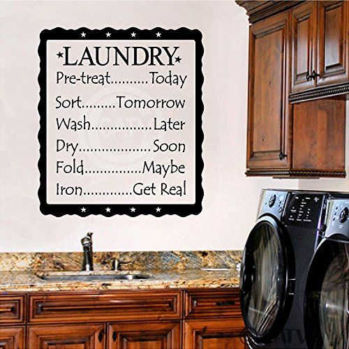 Amazon.com - The Most Memorable Days Usually End With The Dirtiest Clothes Vinyl Laundry Wall Decal Funny Laundry Wall Quote Wall Sticker Laundry Room Art Decoration Black -