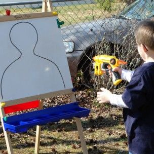 We can draw the outline of a person and let the kids shoot OR a bulls eye (less violent).