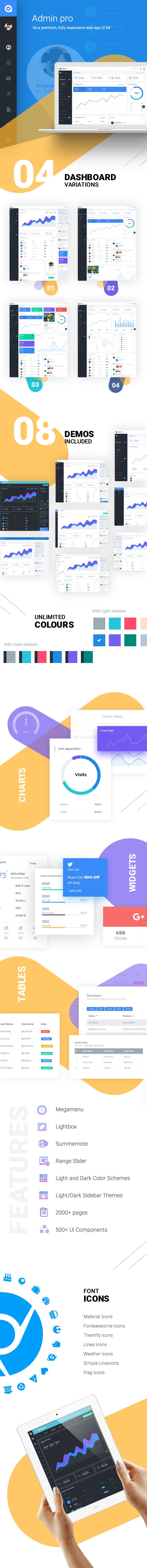 AdminPro Dashboard is a popular open source WebApp template for admin dashboards and control admin panels. AdminPro is fully responsive HTML template, based on the CSS framework Bootstrap 4 Beta....